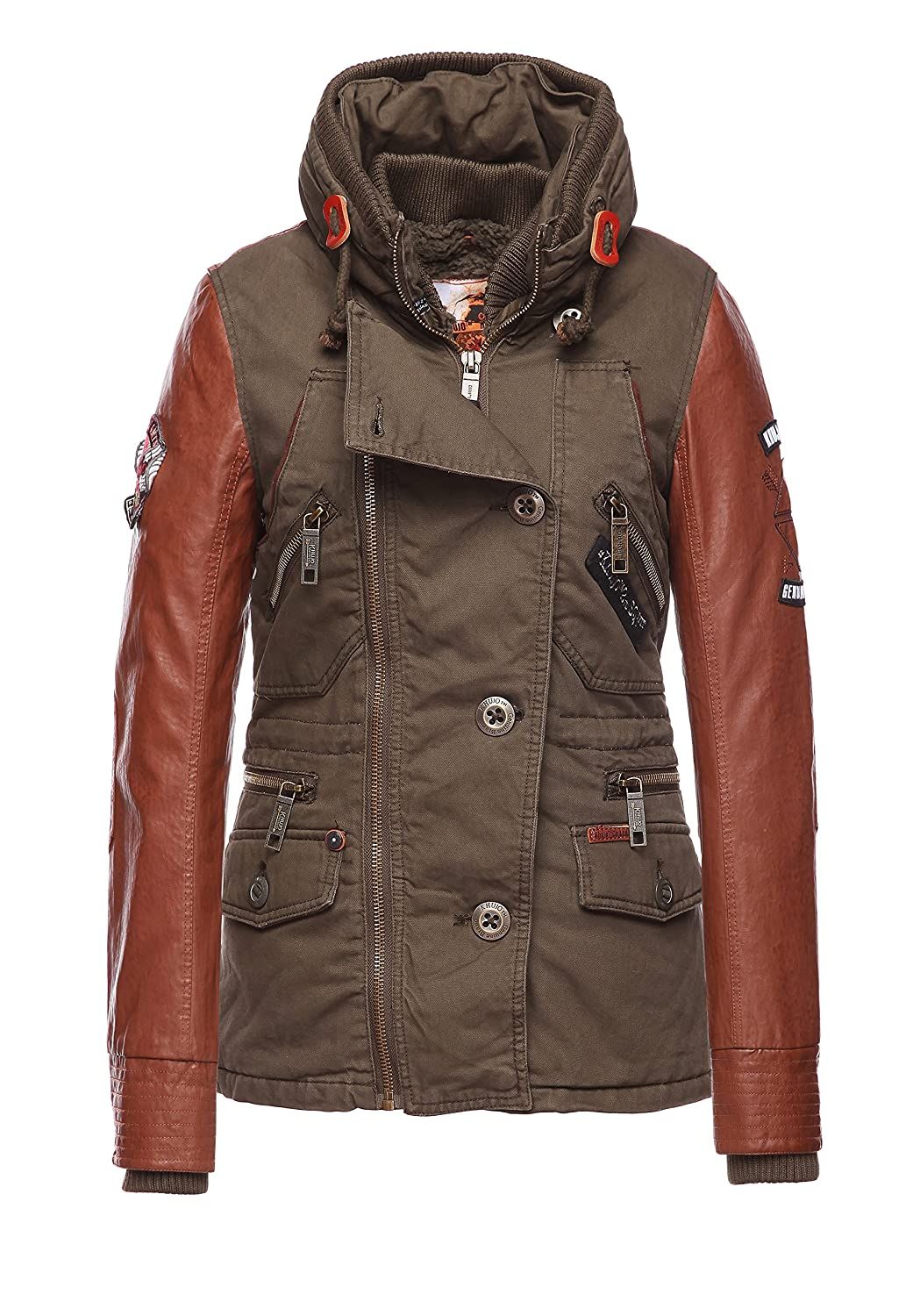 Khujo Damen Winterjacke India Fake Leather Mix With IJ olive bestellen