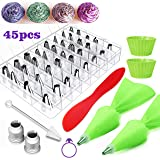 FantasyDay 36 Pcs Stainless Steel Piping Tips Piping Nozzles Cake Decorating Set Icing Tips Baking Tools with 2 Reusable Pastry Bag, 2 Silicone Muffin Molds, 1 Spatula, 1 cleaning brush and 2 Couplers (Color: #2)
