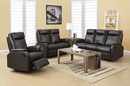 RECLINING - LOVE SEAT BROWN BONDED LEATHER / MATCH (SIZE: 50L X 35W X 41H)
