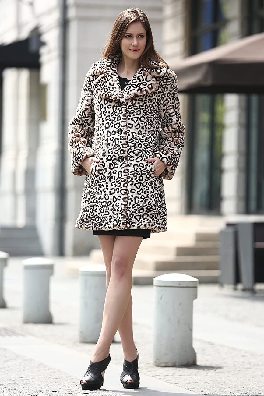 Adelaqueen Women's Elegant Vintage Leopard Print Lapel Faux Fur Coat Mid-Length 3