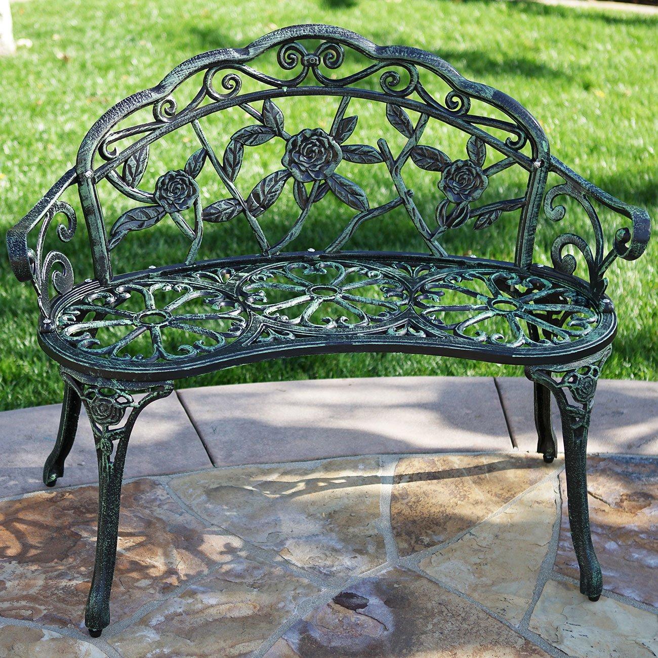 Belleze Cast Iron Antique Rose Style Design Outdoor Patio Garden Park Bench, Green 0