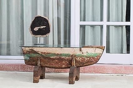 Couchtisch WICKIE mit Glasplatte recyceltem Teak-Holz Bootsrumpf bunt ca.: 100cm
