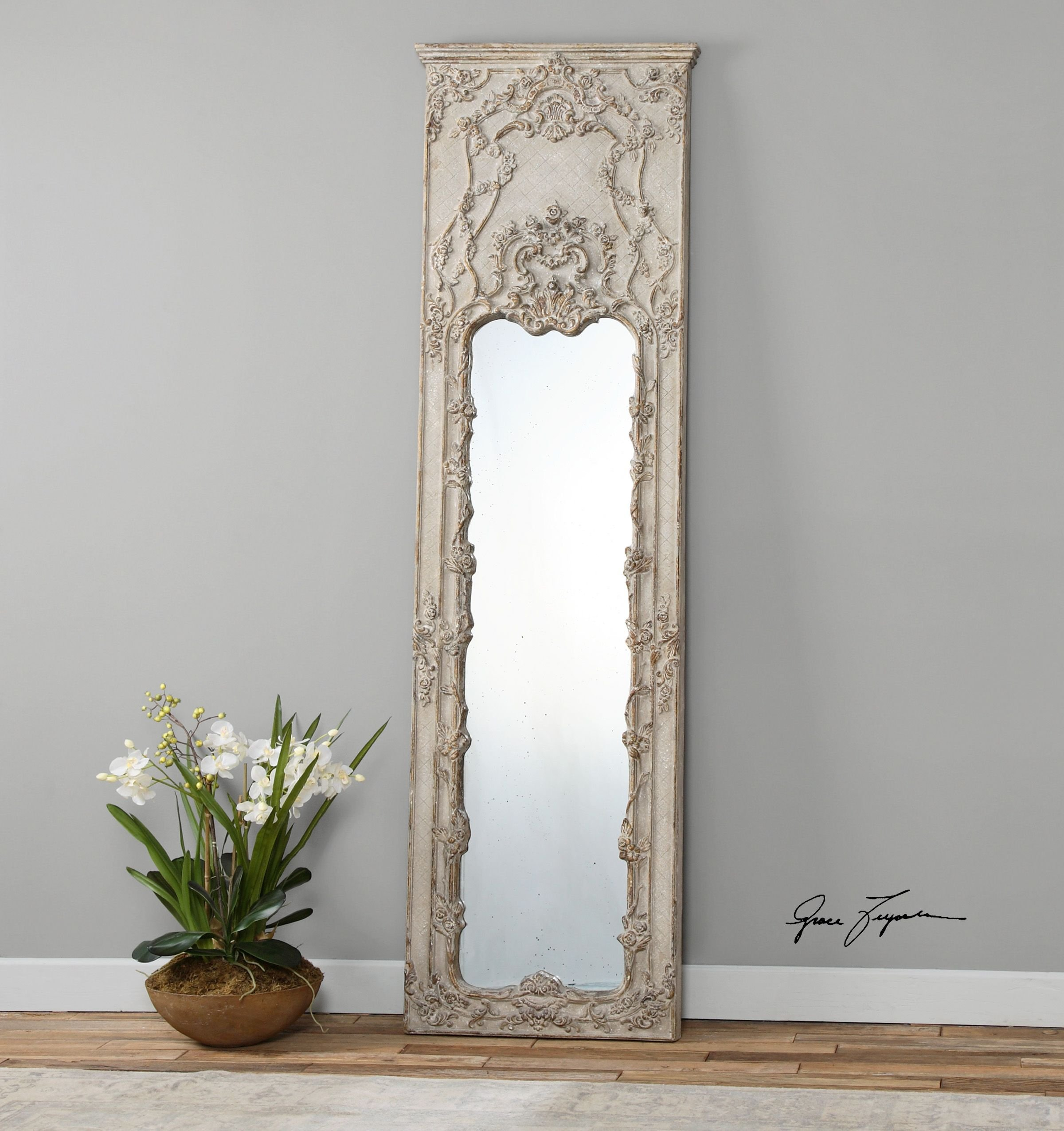 Tall Victorian Ornate Ivory Mirror Oversize Wall Floor