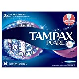 Tampax Pearl Plastic Tampons, Ultra Absorbency, Unscented, 36 Count (Packaging May Vary)
