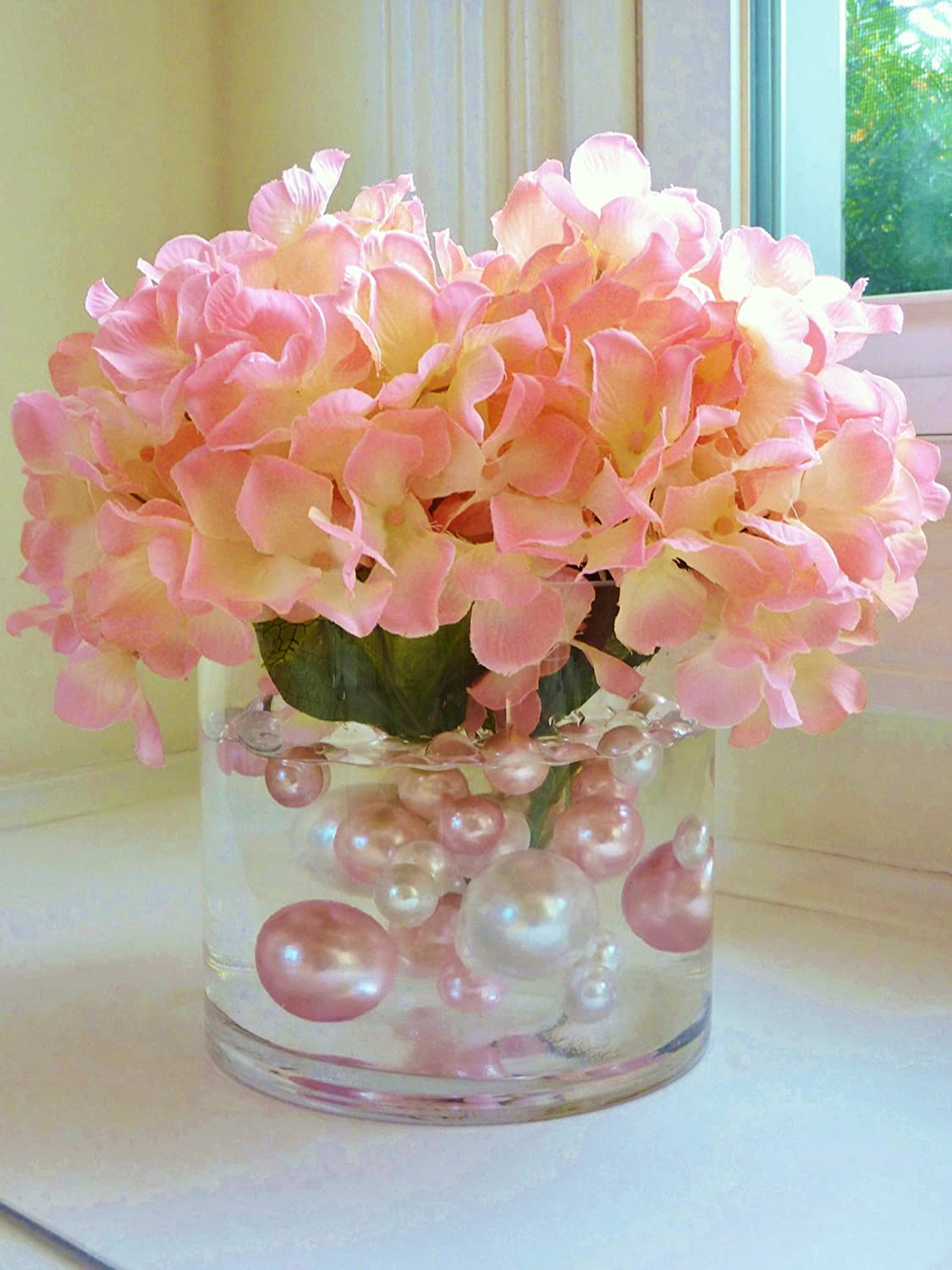 80 Jumbo & Assorted Sizes All Light Pink Pearls Value Pack Vase Fillers