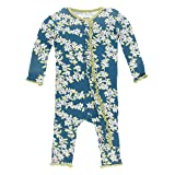KicKee Pants Little Girls Print Muffin Ruffle Coverall (Snaps) - Peacock Tree Canopy, 6-9 Months