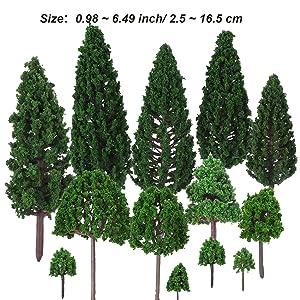 Bememo 33 Pieces Model Trees 1 18 - 6 29 inch/ 3 - 16 cm Mixed Model