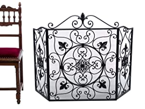 KAMIN FUNKENSCHUTZ FLEUR DE LIS EISEN KAMINGITTER FIRE SCREEN GUARD ANTIK STIL   Bewertungen