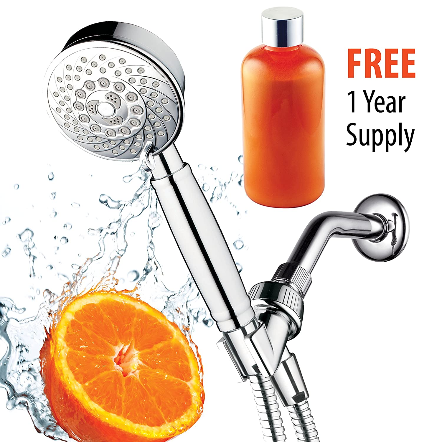 HotelSpa® Fusion Vitamin C Chlorine-Removing Shower. 7 Setting Water-Conditioning Handheld-Shower-Head