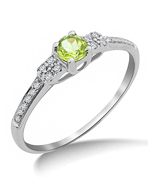 Miore 9ct White Gold Peridot and Pave Diamond Ring SA9021R