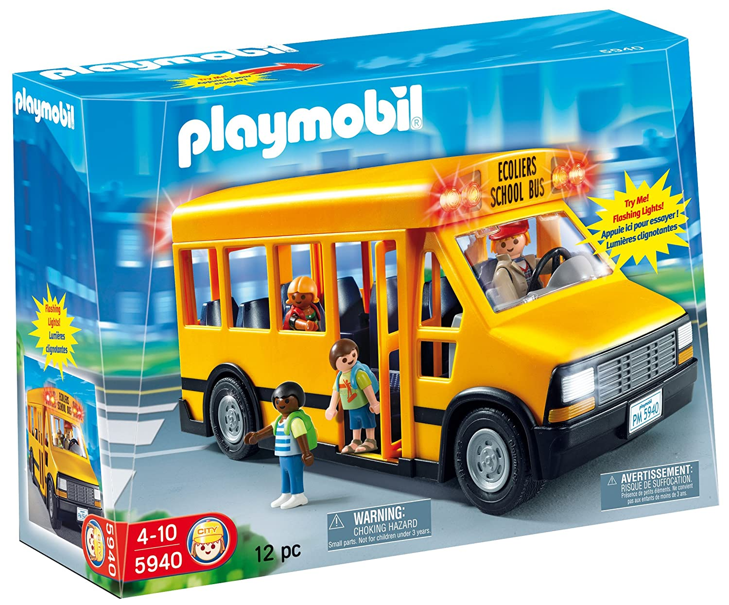 Toys For School : Kids pretend play set toy playmobil school bus car figures