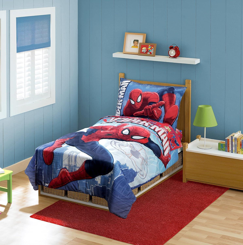 spiderman toddler bedding set above the city kids bedroom