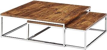 Relaxdays Couchtisch Holz FLAT 2er Set natur HBT 27 x 80 x 80 cm großer Wohnzimmertisch passt ineinander als Satztisch flacher Beistelltisch mit Chrom-Metall fur Stube als Sofatisch, dunkel-braun