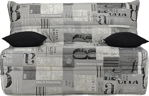Divano Bz tessuto motivi New Paper Grigio Materasso 140x 190sofaflex schiuma