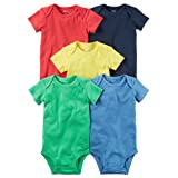 Carter's Baby Boys 5-Pack Short-Sleeve Original Bodysuits (Bright Solid) (24 Months)