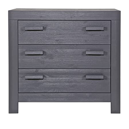 Alfred & Compagnie Chest of Drawers 3 Drawers Solid Wood/Steel Grey