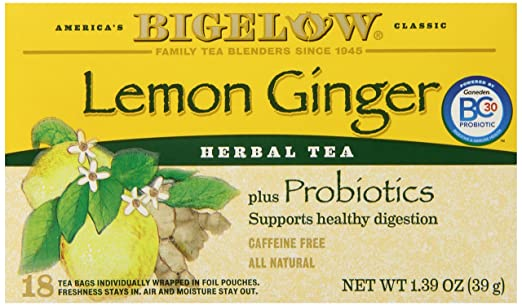 Bigelow Lemon Ginger Herb Plus Probiotics Tea - Caffeine Free - 18 Individually Wrapped Tea Bags