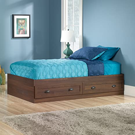 Sauder County Line Twin Platform Bed in rum Walnut