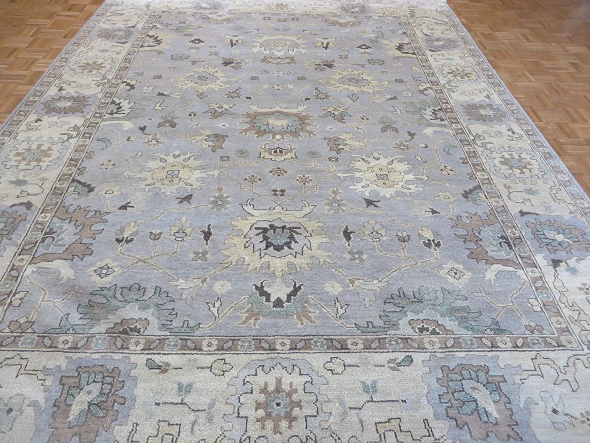 9 x 118 HAND KNOTTED SKY BLUE OUSHAK ORIENTAL RUG VEGETABLE DYES G3913