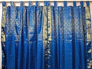 Brocade Silk Sari Curtains Drapes Panel India Home Decor
