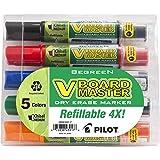 PILOT V Board Master Refillable Dry-Erase Markers, Medium Chisel Tip, Assorted Color Inks, 5-Pack Pouch (43917) (Color: Assorted, Tamaño: Chisel Tip)