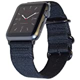 Apple Watch Band 42mm XXL NYLON NATO iWatch Band for Extra Large Wrists & Ankles! 11 inch Long Custom Sizable Wristband with Durable Space Black Hardware for all 42 mm Apple Watch Models by CARTERJETT (Color: Black Nylon w/ Space Black hardware, Tamaño: 42mm XL/XXL (6