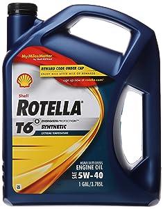 Shell Rotella (550019921) T6 5W-40 Full Synthetic, Heavy Duty Diesel Engine Oil (CJ-4) - 1 Gallon