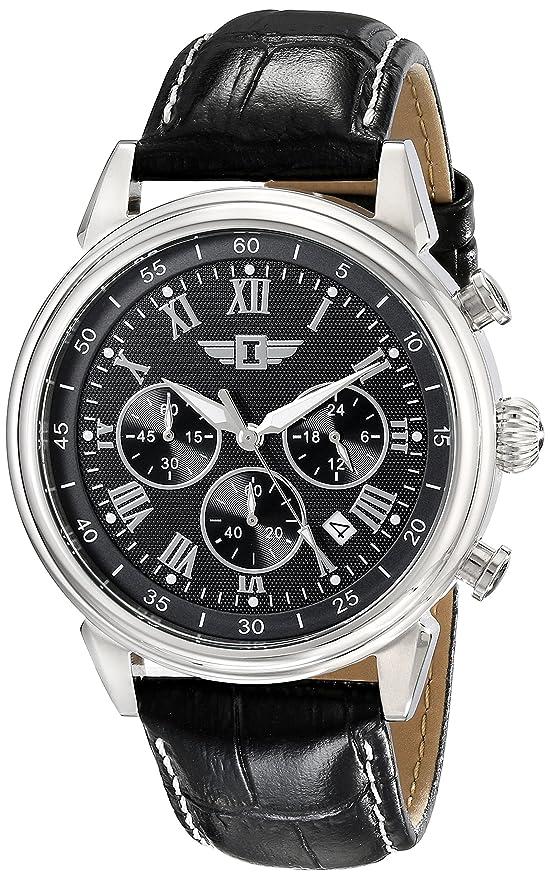 Invicta Men's Chronograph Black Dial Black Leather Dress Watch