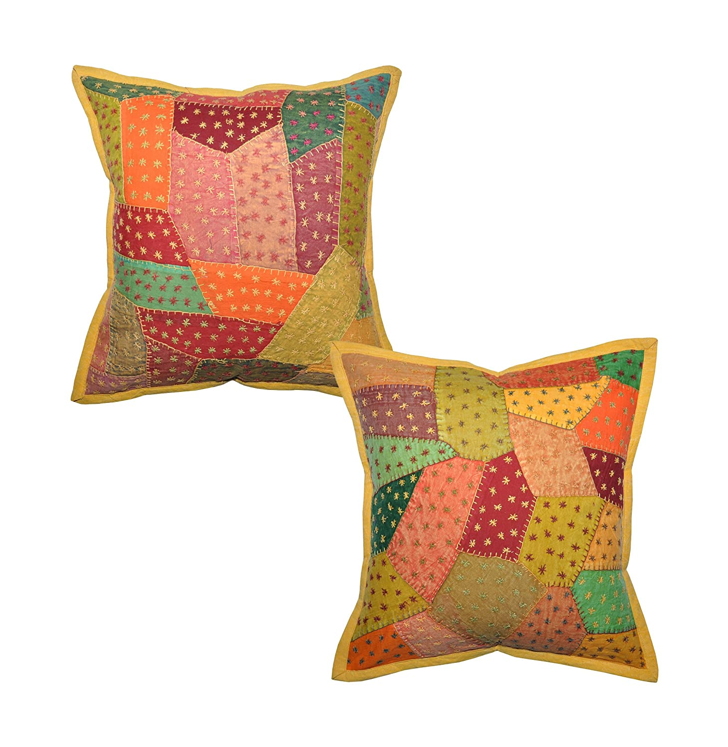 2 Traditional Indian Cotton Cushion Pillow Cover With Embroidery & Patchwork 16