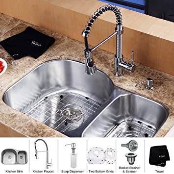 Kraus KBU23-KPF1612-KSD30CH 32 inch Undermount Double Bowl Stainless Steel Kitchen Sink with Chrome Kitchen Faucet and Soap Dispenser