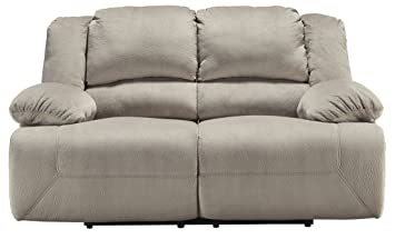 Ashley Toletta 5670374 Power Reclining Loveseat with Bustle Back Design Thick Pillow Top Arms and Textured Fabric Upholstery in