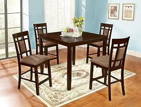 Roundhill Furniture 5 Piece Inworld Counter Height Dining Set, Dark Cherry