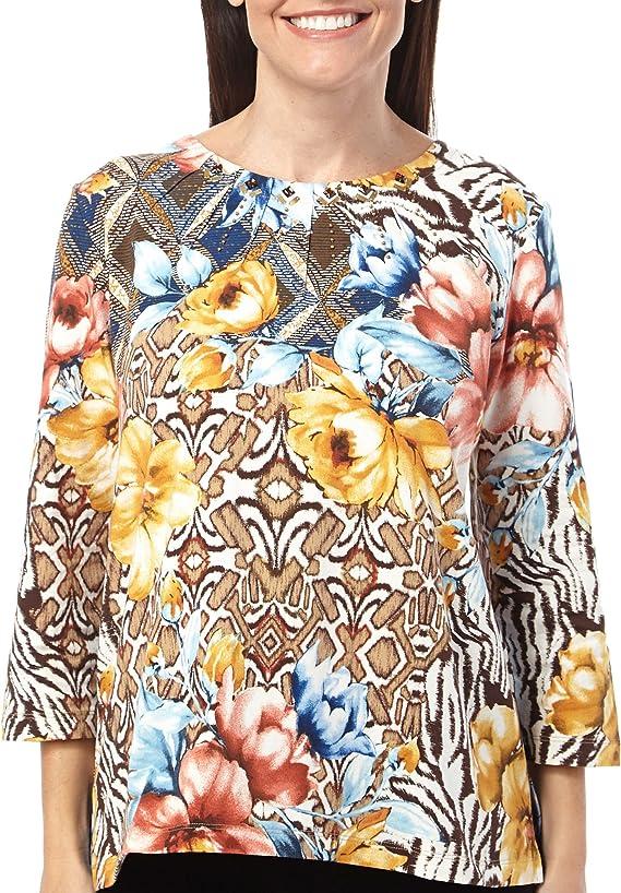 Alfred Dunner El Dorado Floral Patch Top
