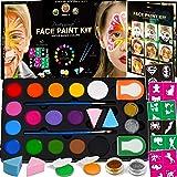 Face Paint Kit for Kids - 60 Jumbo Stencils, 15 Large Water Based Paints, 2 Glitters - Halloween Makeup Kit, Professional Face Paint Palette, Face Paints Safe for Sensitive Skin, Face Painting Book (Tamaño: 15 Color + Face Paint Book)