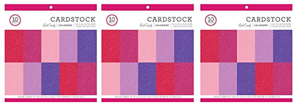 Colorbok Glitter Paper Pad 12 x 12 Rock Candy (3-Pack) (Tamaño: 3-Pack)