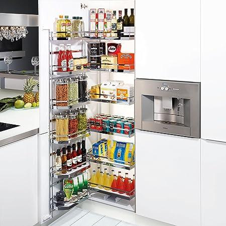 SO-TECH® / Kesseböhmer DISPENSA-Tandem système extractible 6 étagère (Hauteur: 1700 mm) largeur de meuble 45 cm incl. Étagère de porte et étagères à accrocher