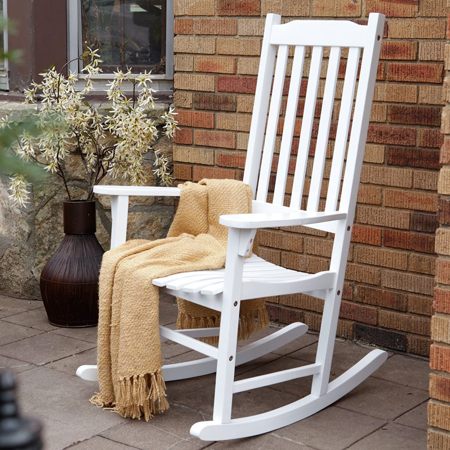 WHITE ROCKING CHAIR INDOOR OUTDOOR WOOD SLAT SEAT PORCH