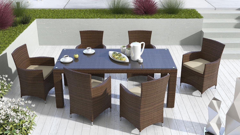 iCASA Polyrattan Gartenmöbel Esstisch Rapallo 200 + 6x Sessel Amanda inkl. Auflage braun jetzt kaufen
