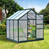 LA BOVA 6x6x7FT Greenhouse Aluminum Frame Walk-In Outdoor Plant Garden Polycarbonate