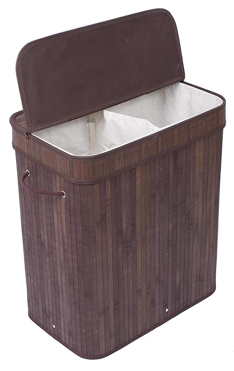BirdRock Home Double Laundry Hamper with Lid and Cloth Liner | Bamboo | Espresso | Easily Transport Laundry Basket | 2 Section Collapsible Hamper | String Handles