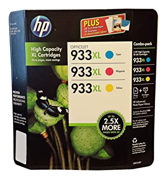 HP D8J65BN 933XL Combo 3 Color high capacity XL