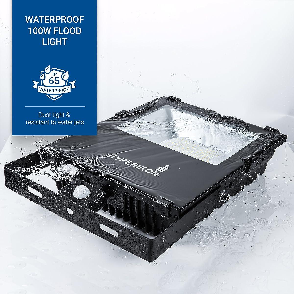 Hyperikon Outdoor LED Flood Light with Motion Sensor, 100W (400W Equivalent) 10000 Lumens, 5000K, LED Security Light, 120v, IP65 Waterproof - For Security, Light Poles, Events