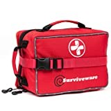 Surviveware Large First Aid Kit for Extended Camping Trips, Cars, Boats, Trucks, Office, Home and Family Use with Bonus Mini Kit (Color: Red, Tamaño: Large)
