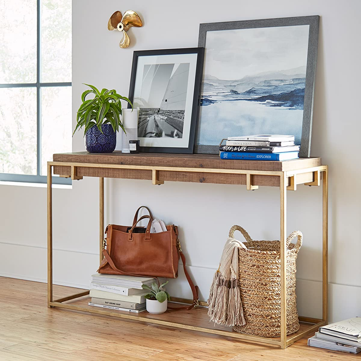 """Stone & Beam Sparrow Industrial Console Table, 55.1"""" W, Wood and Gold"""