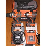 RIDGID 18-Volt X4 Hyper Lithium-Ion Cordless Drill and Impact Driver Combo Kit (3-Tool) with Radio (Color: Orange)