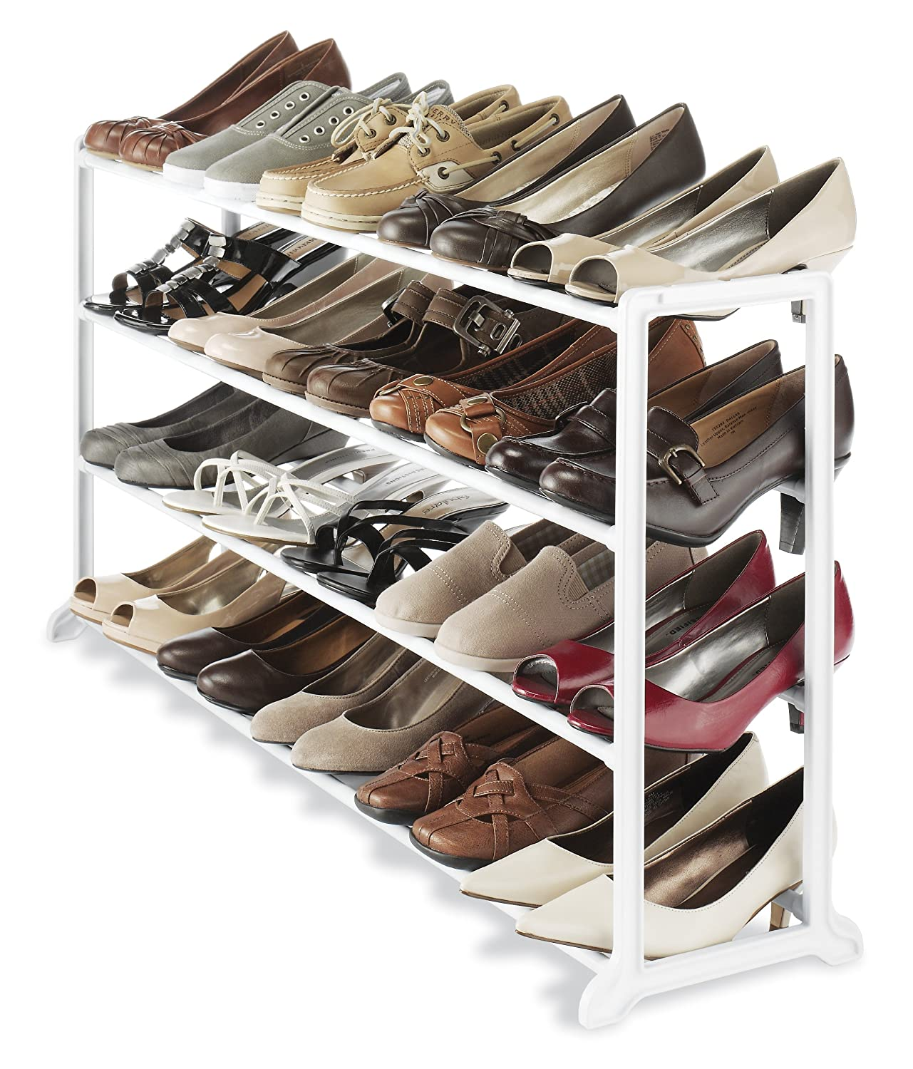 whitmor white 20 pair shoe rack storage organizer holder