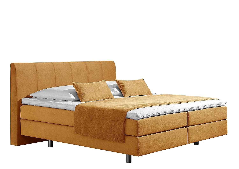 Maintal Betten 237439-4170 Boxspringbett Montepellier 140 x 200 cm, Strukturstoff gelb