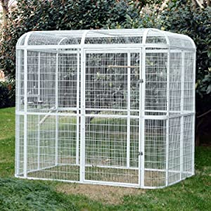 PANEY Large Iron Bird Cage Parrot Cockatiel Macaw Finch Walk in Aviary Flight Pet Supply White (Color: White)