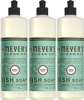 3-Pack Mrs Meyers 16 Fl Oz Basil Liquid Dish Soap