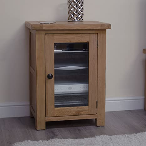 Original Rustic Solid Oak Furniture Hi-Fi Stereo Cabinet Cupboard